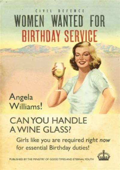 Women Wanted For Birthday Service Personalised Happy Birthday Card