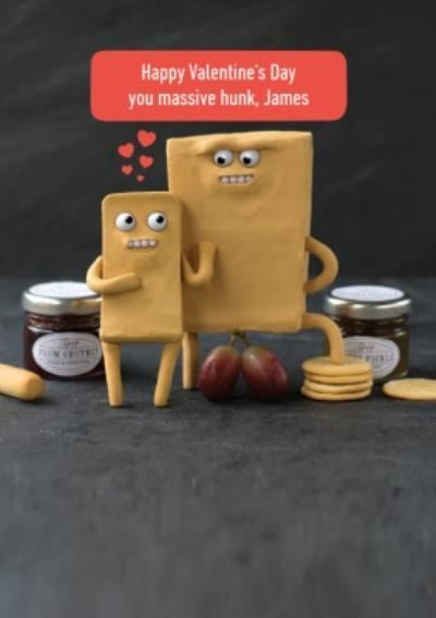 Happy Valentines Day You Massive Hunk Cheese Pun Card