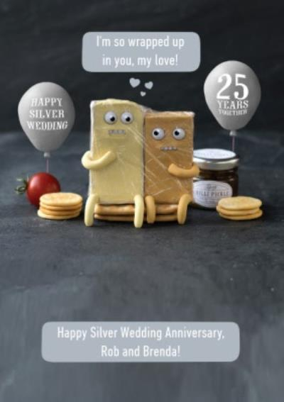 Personalised Im So Wrapped Up In You Silver Wedding Anniversary Card