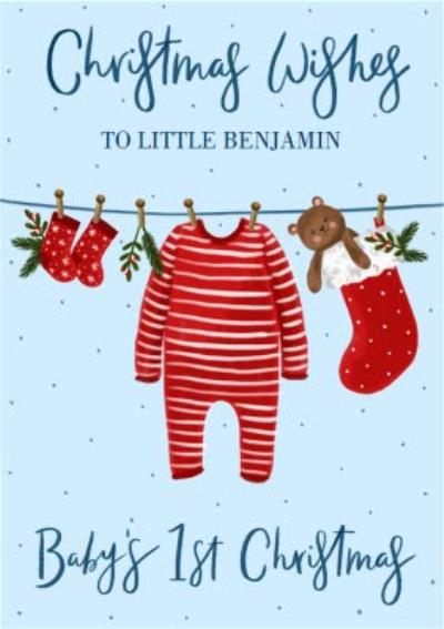 Christmas Wishes Cute Baby's 1st Christmas Personalised Card