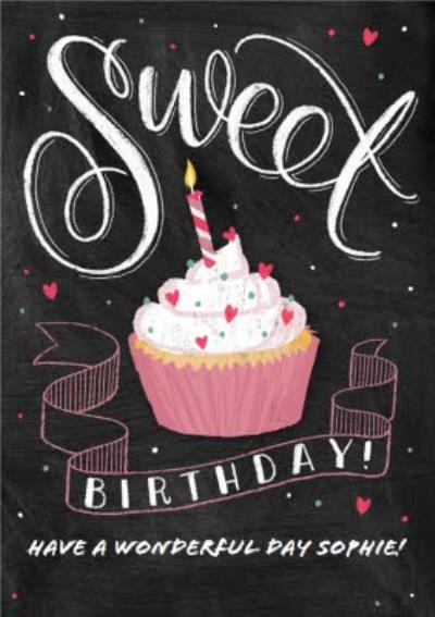 Sweet Cupcake With Candle Personalised Happy Birthday Card