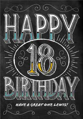 Chalkboard Style Personalised Happy 18th Birthday Card
