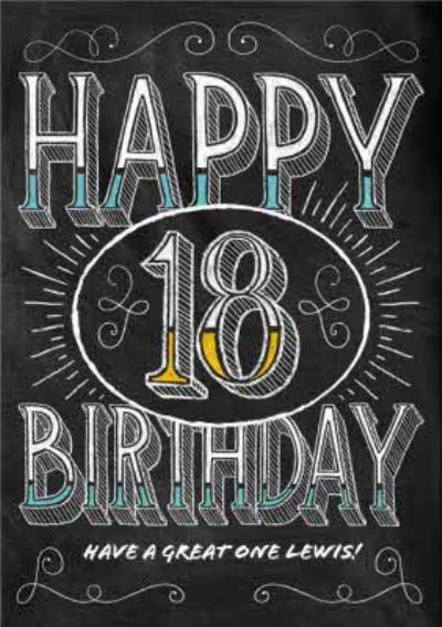 Chalkboard Style Personalised Happy 18th Birthday Card