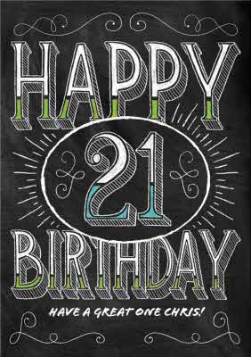 Black And White Chalk Style Personalised Happy 21st Birthday Card