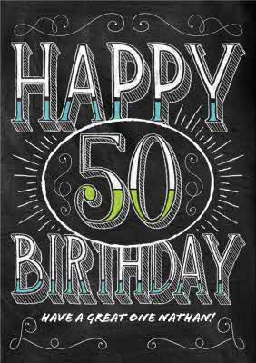 Chalkboard Style Personalised Happy 50th Birthday Card