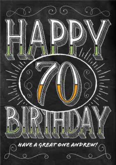 Colourful Green Letters Personalised Happy 70th Birthday Card