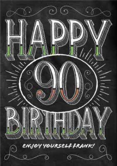 Chalkboard Letters Personalised Happy 90th Birthday Card
