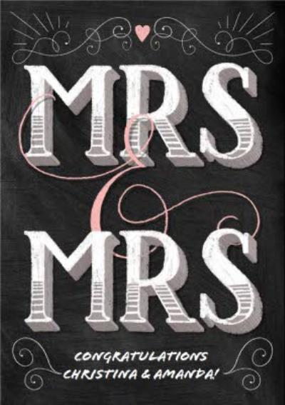 Block Letters Mrs And Mrs Wedding Card