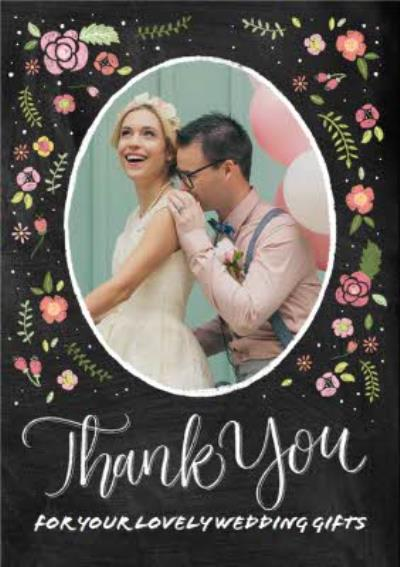 Colourful Flowers Wedding Thank You Photo Card