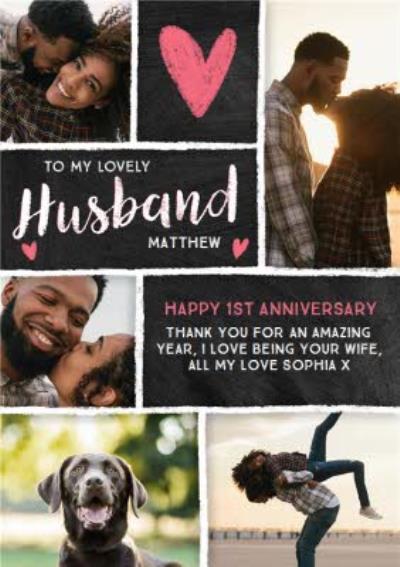 Chalkboard Photo Upload 1st Anniversary Card for Husband