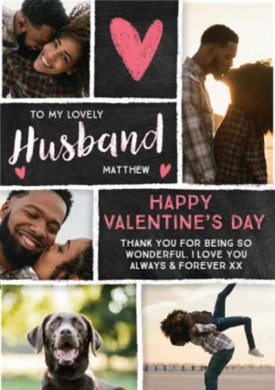 Chalkboard Happy Valentines Day To My Lovely Husband Photo upload Card
