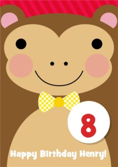 Cheerful Monkey Kids Birthday Card