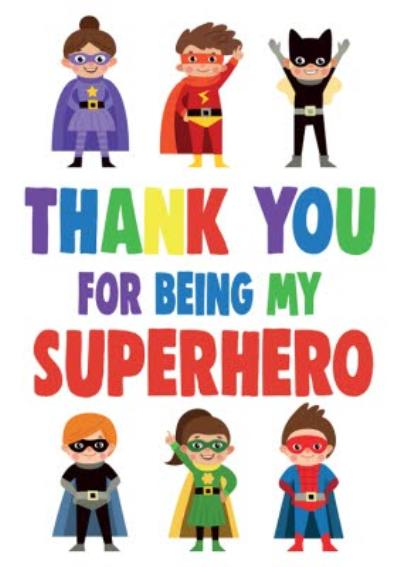 Funny Cheeky Chops Thank You For Being My Superhero Card