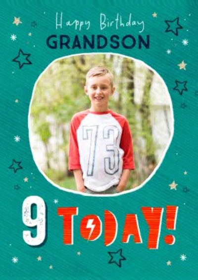 Typographic With Stars Happy Birthday Grandson Personalise Age Photo Upload Card