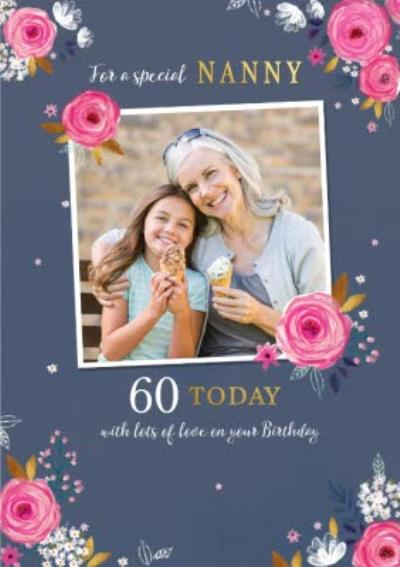 Illustrated Roses and White Flowers To A Special Nanny 60 Today Birthday Card