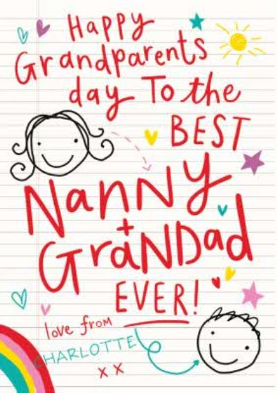 Grandparents Day Card With Childs stick drawings for Nanny and Grandad