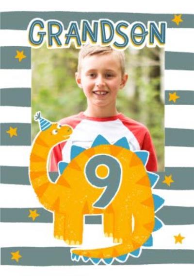 Cute Dinosaur Grandson Photo Upload 9th Birthday Card