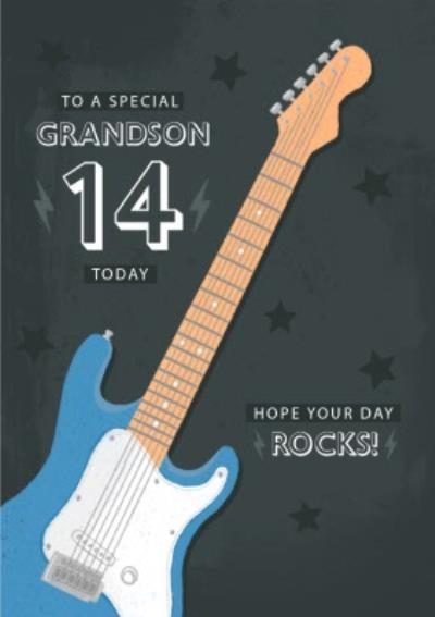Guitar Hope Your Day Rocks Birthday Card