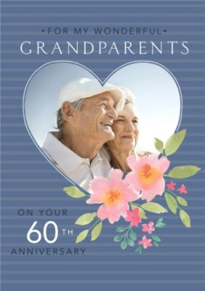 Floral Illustration Grandparents Sixtieth Photo Upload Anniversary Card