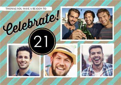 Happy 21St Birthday Multi-Photo Card