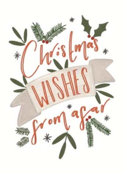 Christmas Wishes From Afar Typographic Card