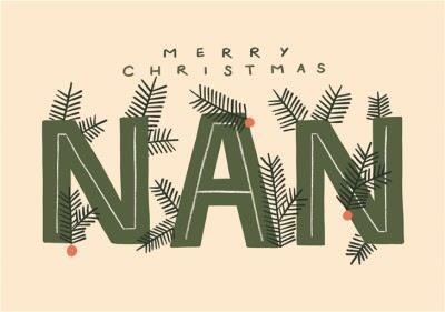 Merry Christmas Nan Typographic Card