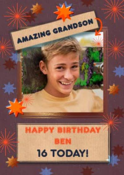 Illustrated Stars Amazing Grandson Photo upload Birthday Card