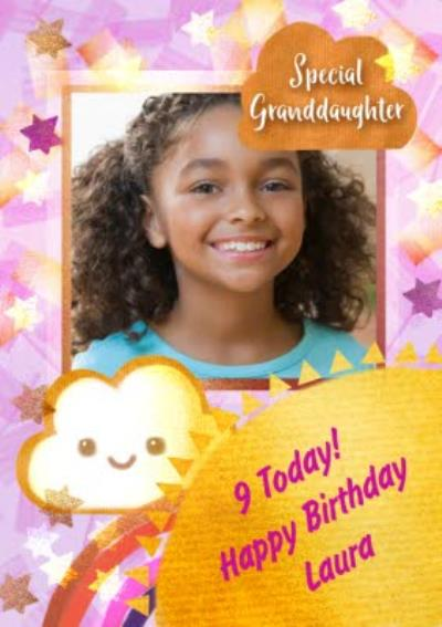 Stars and Cloud Special Granddaughter Frame Photo Upload Birthday Card