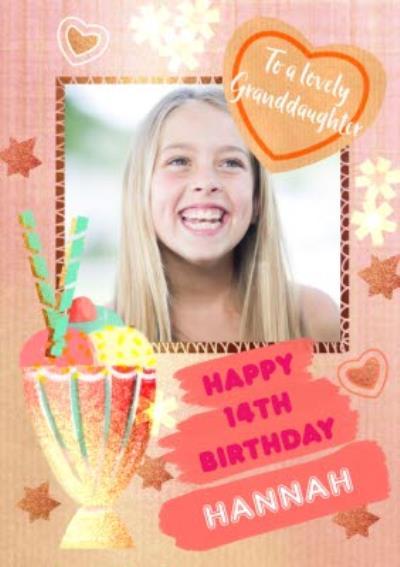 Milkshake To A Lovely Granddaughter Framed Photo Upload Birthday Card