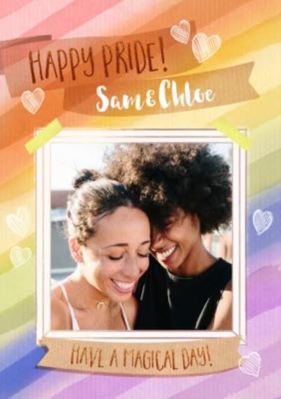 Rainbow and Hearts Photo Upload Happy Pride Card