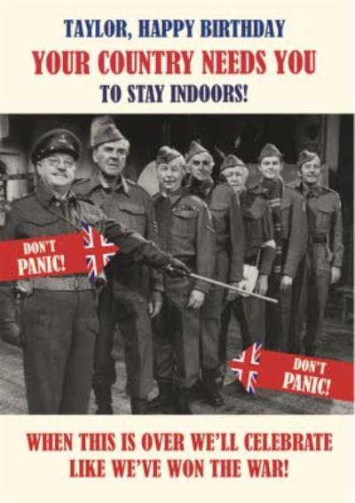 Retro Humour Dad's Army Social Distancing Happy Birthday Card