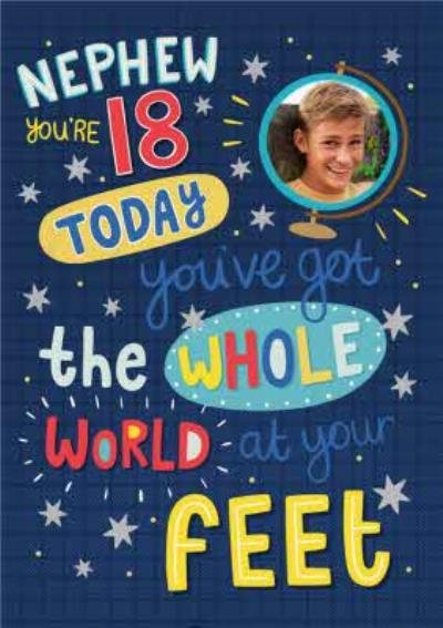 Bright Graphic Typography Nephew You're 18 Today Photo Upload Birthday Card