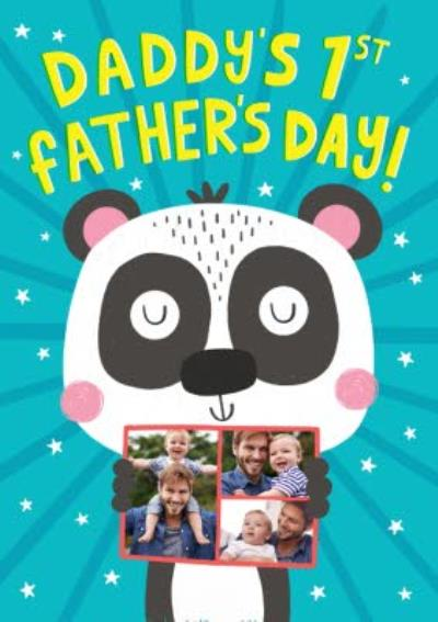 Cute Illustration Panda Daddys First Fathers Day Card