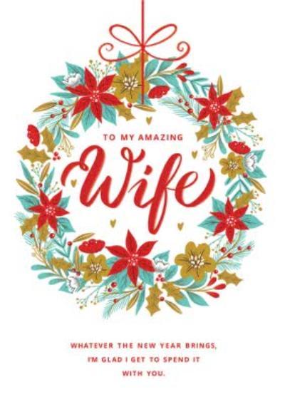 To My Amazing Wife Wreath Christmas Card