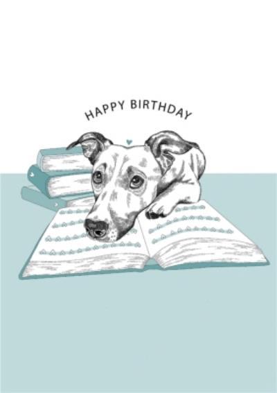 Modern Cute Dog Illustration Book Lover Birthday Card