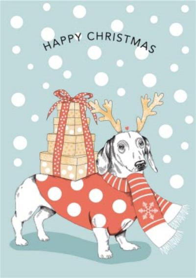 Modern Cute Illustration Sausage Dog Carrying Christmas Presents Christmas Card