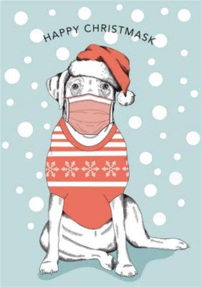 Modern Cute Illustration Dog Covid Happy Christmask Christmas Card