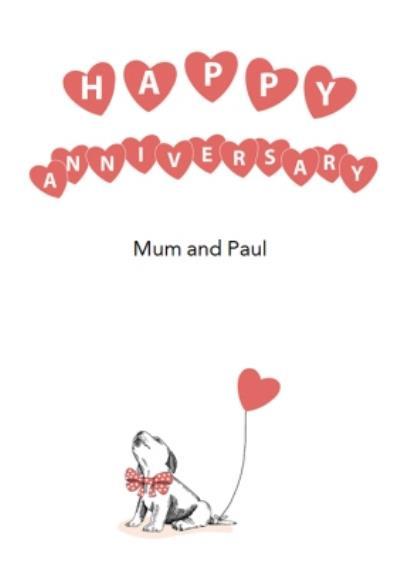 Dotty Dog Art Dog Hearts Anniversary Card