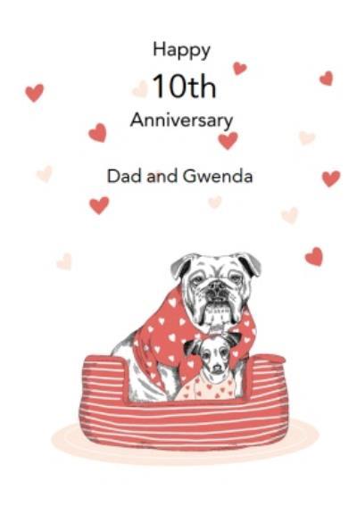 Dotty Dog Art Dogs Basket Anniversary Card