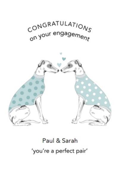Dotty Dog Art Dogs Hearts Congratulations Wedding Card