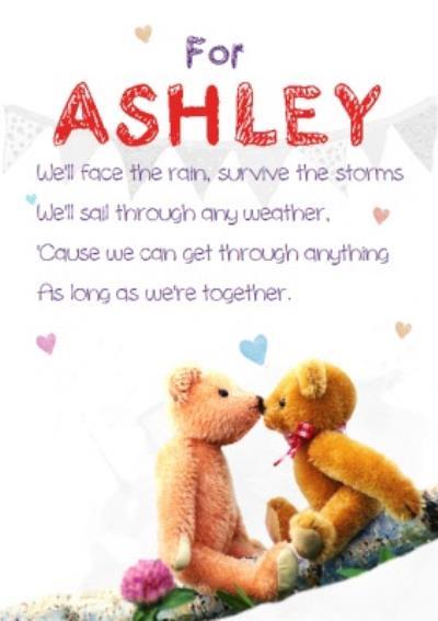 Teddies Kissing Poem Personalised Anniversary Card