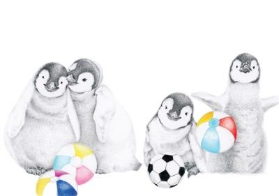 Hand Drawn Penguins and Beach Balls Card