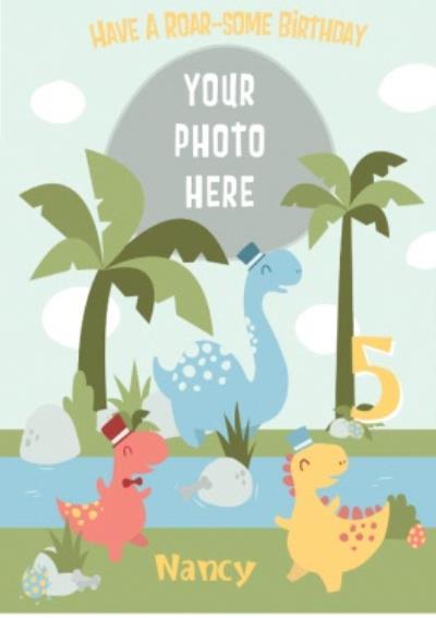 Cartoon Dinosaurs Have A Roar-Some 5th Birthday Card