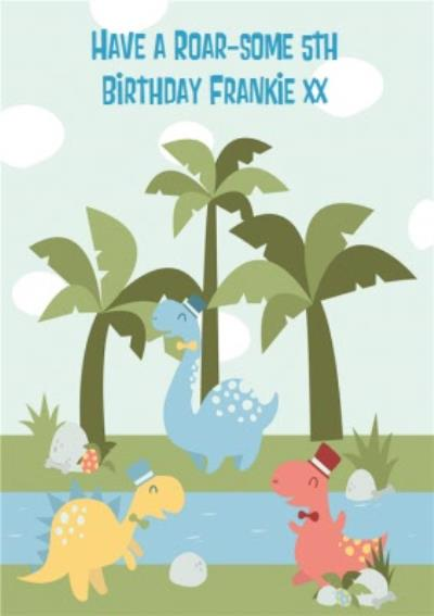 5th Birthday Card - Dinosaur Card