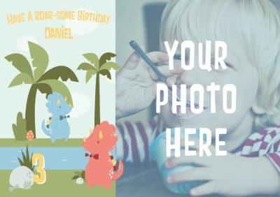 Cartoon Dinosaurs Have A Roarsome Birthday Photo Card