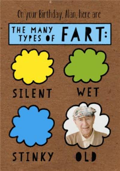 All The Types Of Fart Personalised Photo Birthday Card