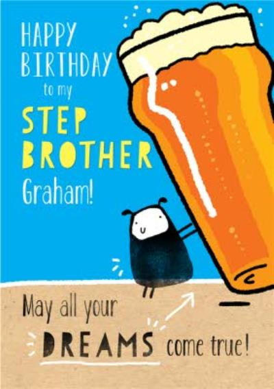 Funny Step Brother Birthday Card
