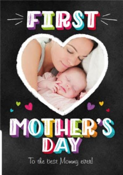 Colourful Block Letters Happy First Mother's Day Photo Card