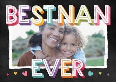 Colourful Letters Best Nan Ever Mother's Day Photo Card