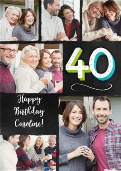 Multi Photo Upload 40th Birthday Card